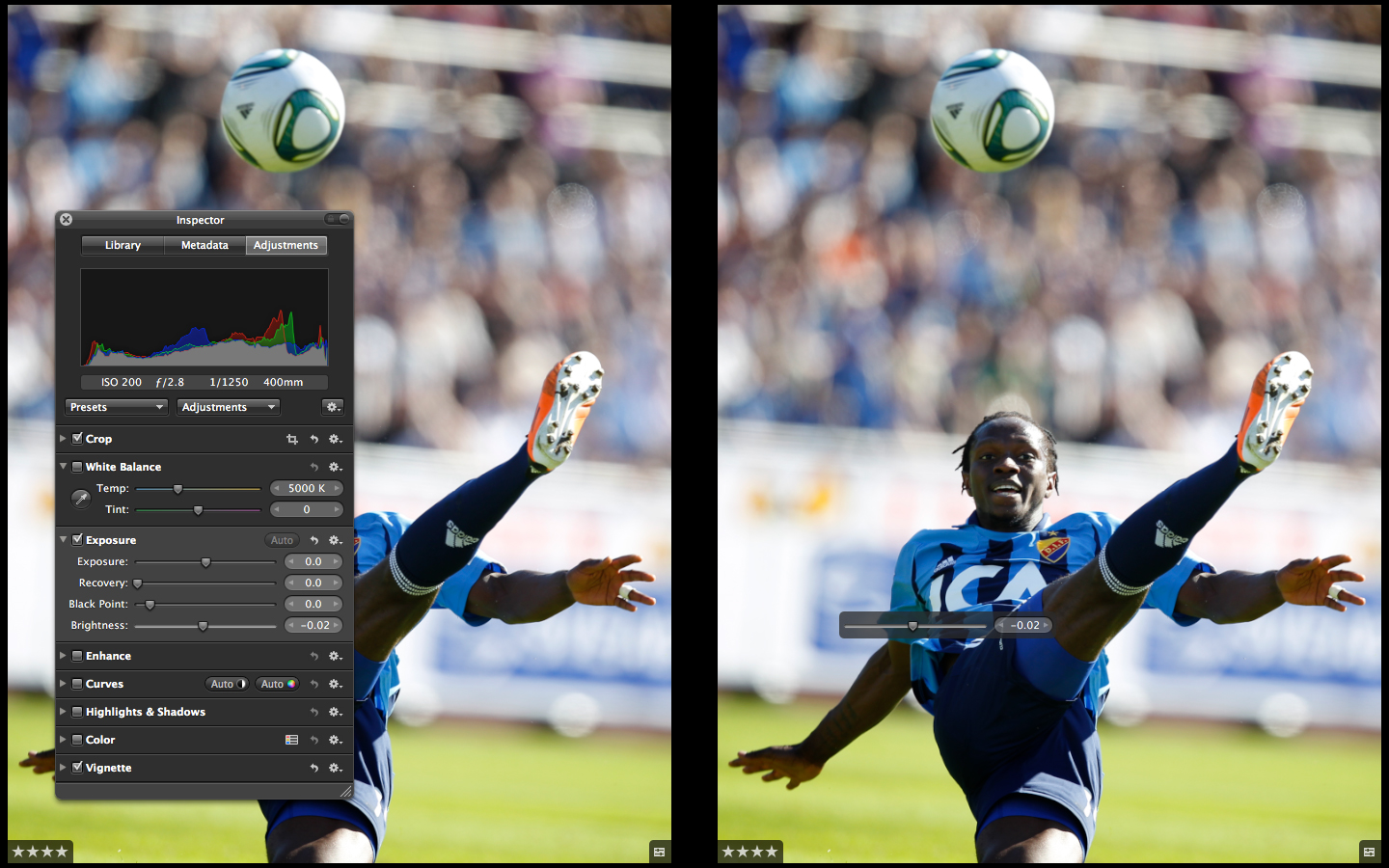 Hold shift while adjusting in Aperture 3