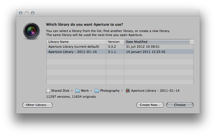 Dialog box to select another library in Aperture 3
