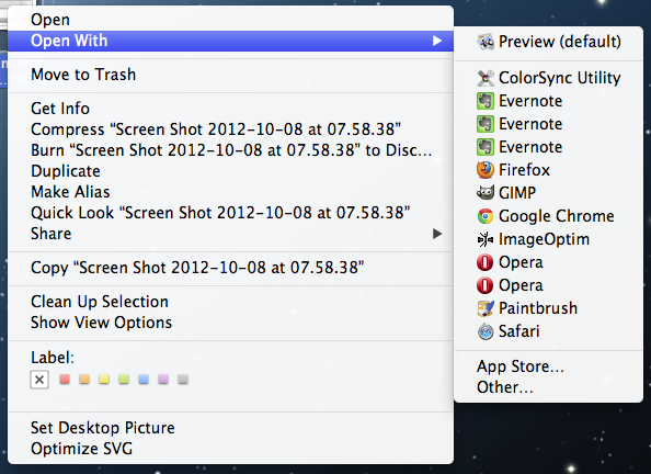 """Clean up """"Open with"""" menu on OS-X"""
