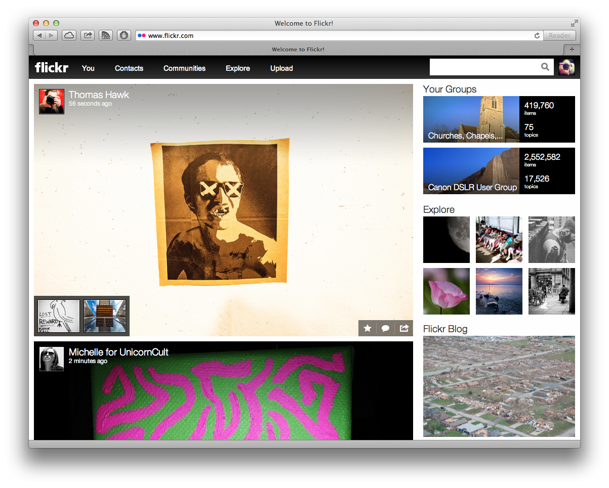 The homepage of the new Flickr