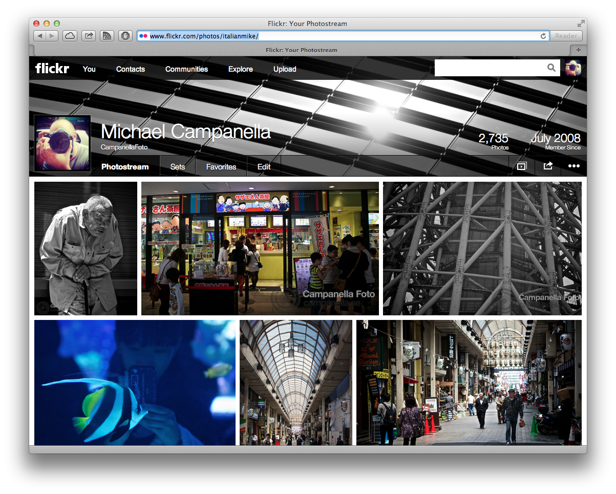 The profile page of the new Flickr