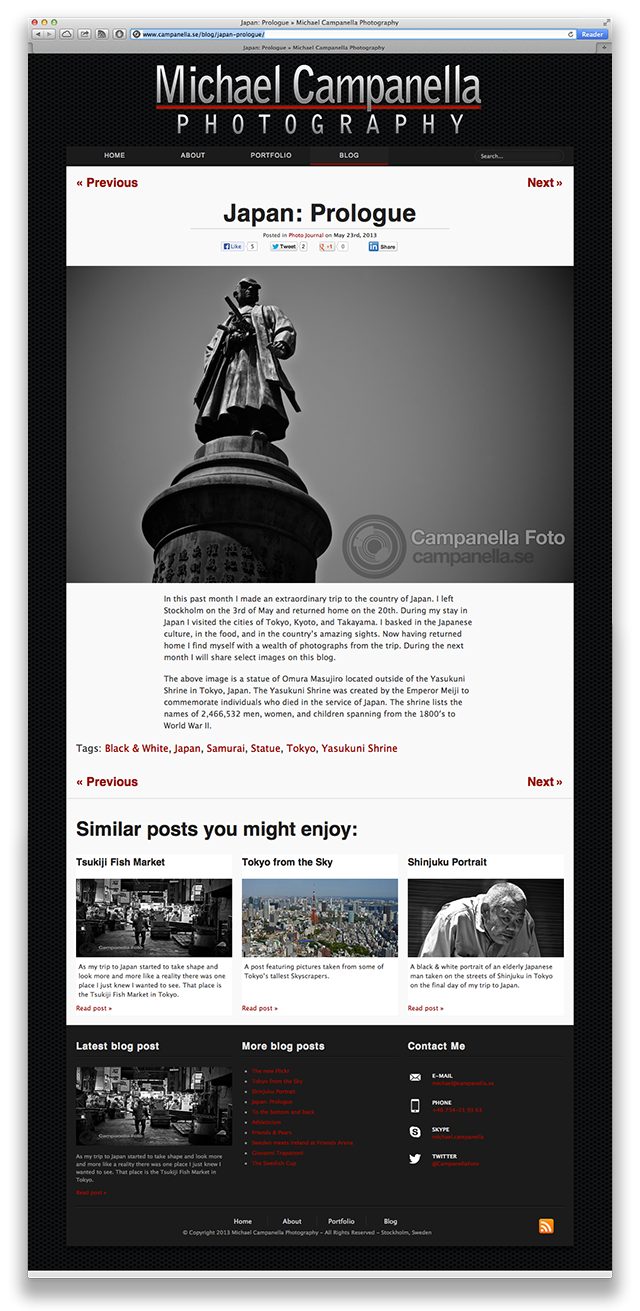 CampanellaFoto - Version 4.0 - Single Blog Page