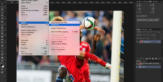 File menu on Photoshop CC 2015