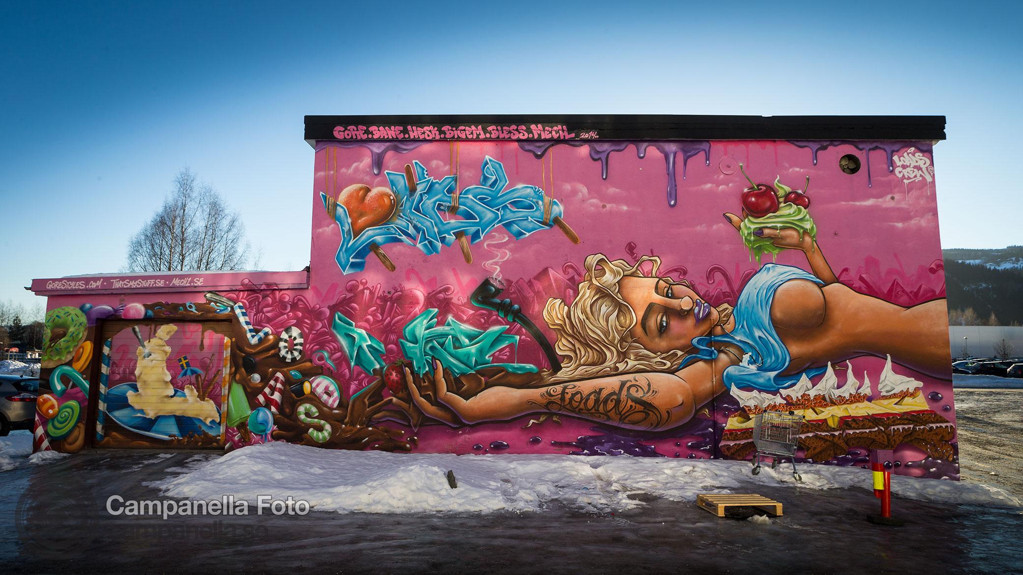 Street art mural in Lillehammer, Norway