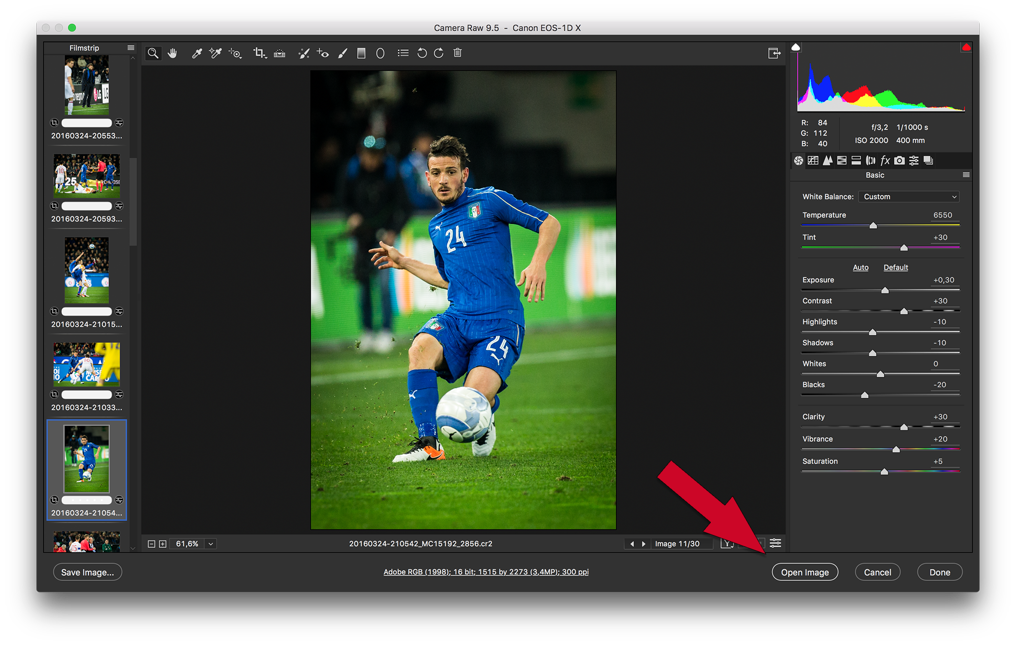 Open Image button in the Adobe Camera RAW application