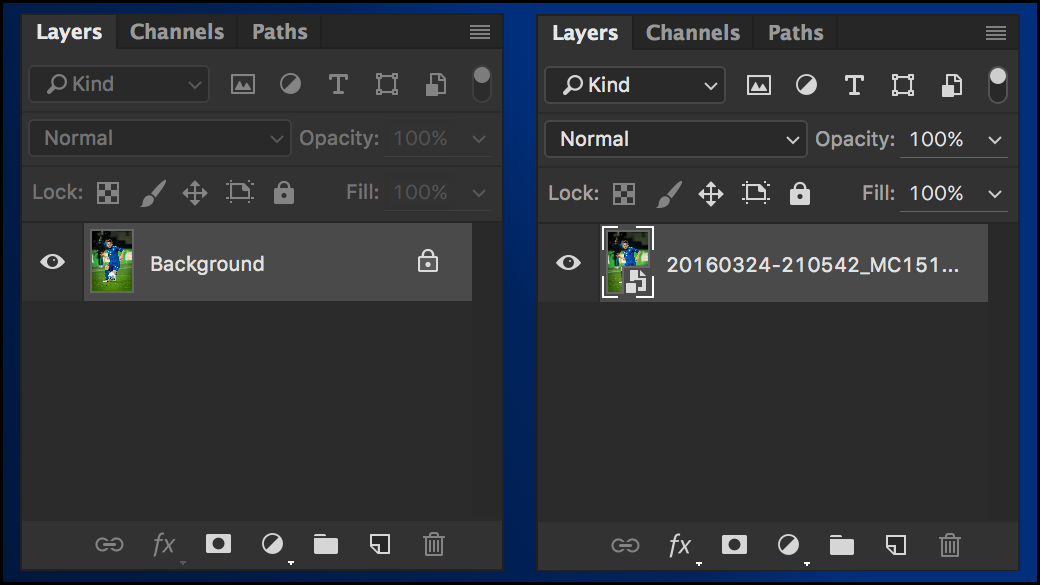 Difference in Photoshop between image and smart object
