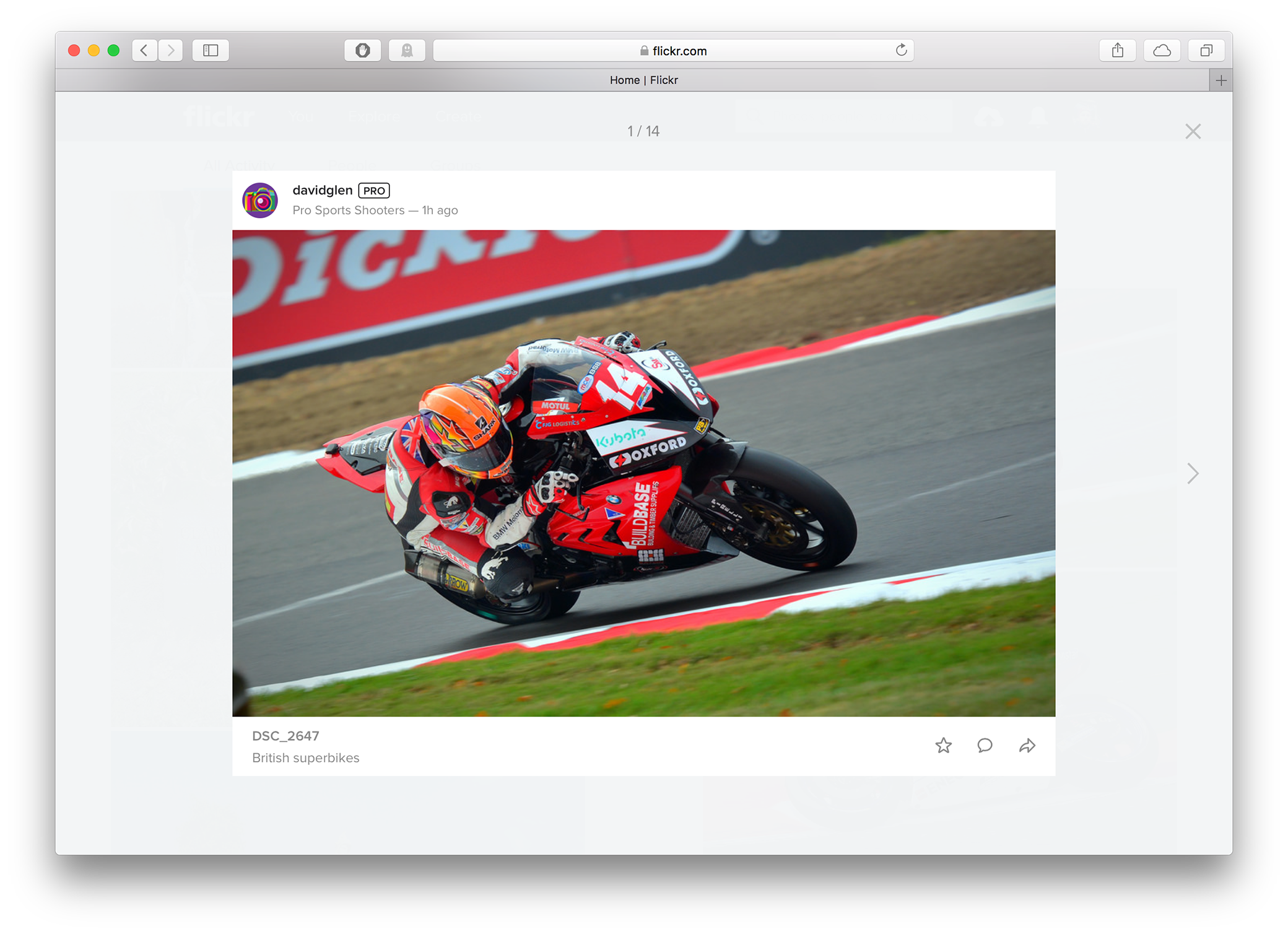 Pop-up view of a photo on the new Flickr homepage feed