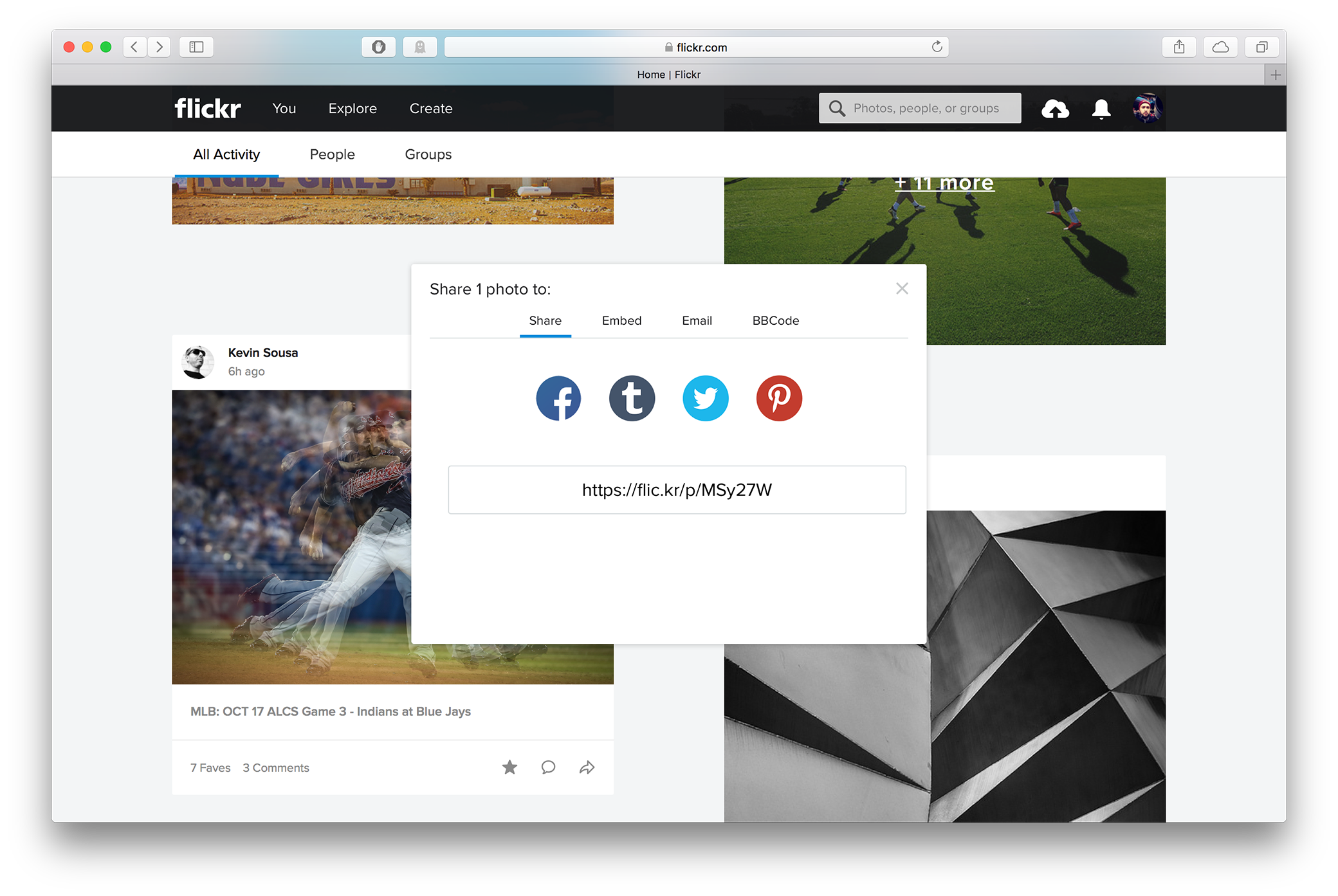 The share pop-up on the new Flickr feed