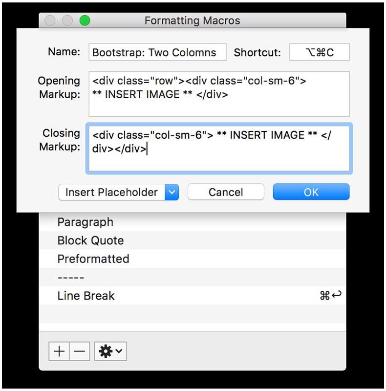 MarsEdit: Macro editor window