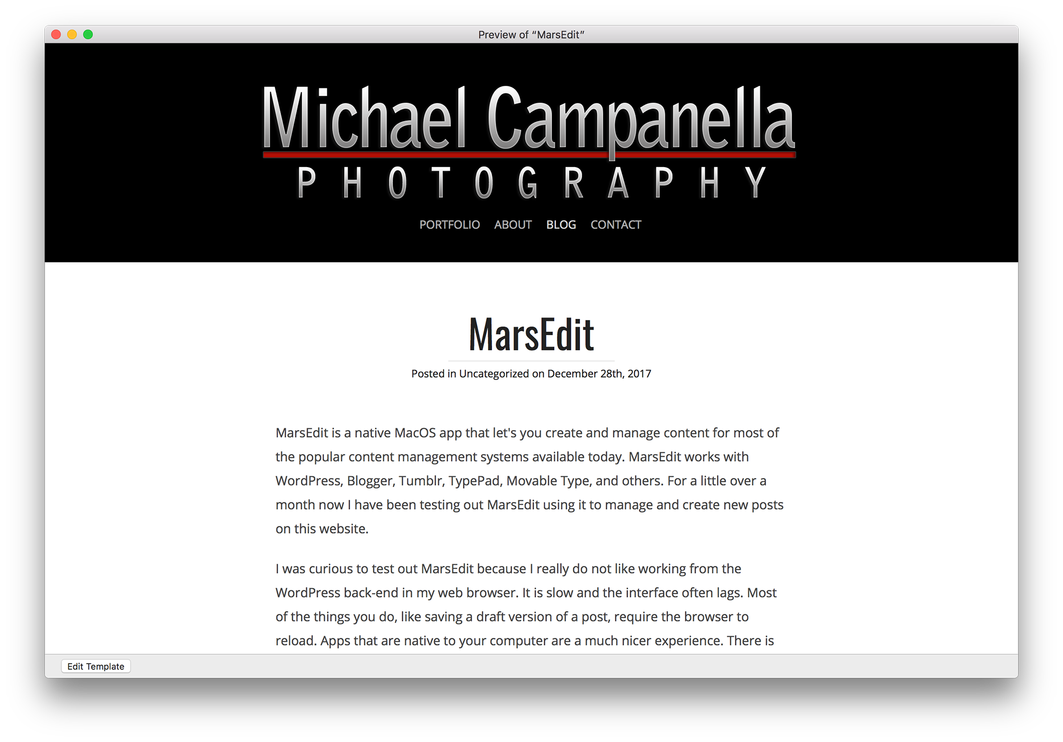 MarsEdit: Preview template window