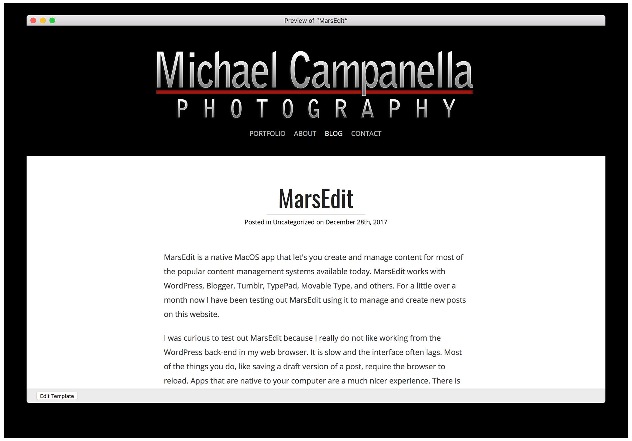 MarsEdit: Preview template window